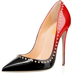 Black and Red 5 inches Stiletto Heels Gold Rivets Office Heels Pumps (265 MYR) ❤ liked on Polyvore featuring shoes, pumps, heels stilettos, stiletto high heel shoes, heel pump, stiletto heel pumps and high heels pumps stilettos