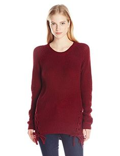 PINK ROSE Women's Quinn Side Lace up Scoop Neck Pullover Sweater