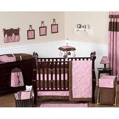 Sweet Jojo Designs Pink and Brown Paisley Collection 9-Piece Crib Bedding Set