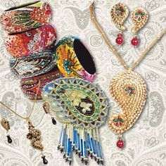 paisley ornament accessories, paicley bracelet, paisley beads, persian style, indian pendant, asian earrgings