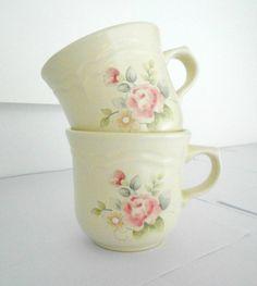 Pfaltzgraff Tea Rose stoneware teacups set of by SarahLyallHome. My mommas dishes @Laura Jayson