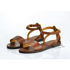Nafsika Sandals Leather Sandals Minimal Ankle Strap Women Sandals in... ($47) ❤ liked on Polyvore featuring shoes, sandals, brown, gladiator & strappy sandals, women's shoes, ankle strap gladiator sandals, gladiator sandals, leather strap sandals, strappy gladiator sandals and ankle strap sandals