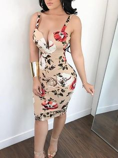 Deep V Floral Print Backless Slip Dress - Women Shop Tight Dresses, Sexy Dresses, Cute Dresses, Fashion Dresses, Cute Outfits, Floral Dresses, Dress Skirt, Bodycon Dress, New Mode