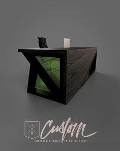 No hay descripción de la foto disponible. Industrial Design Furniture, Office Furniture Design, Industrial Office, Metal Furniture, Cool Furniture, Modern Furniture, Wood Table Design, Custom Desk, Wooden Desk