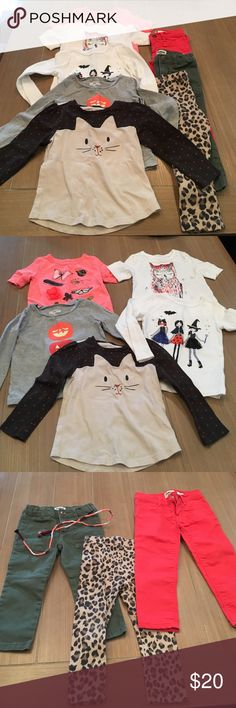 Girls 2t Autumn 🍂 Bundle Comes with everything shown above! Two half sleeve shirts (Osh Kosh) Three long sleeve shirts; white (Carters), Gray (Osh Kosh) and Beige (Baby Gap). Two pairs of pants with belt (Osh Kosh) and pair of cheetah print leggings (Old Navy). Everything is Size 2t!! Bundle with other items and save 10%! Osh Kosh Matching Sets