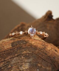 Moonstone engagement ring set Rose gold Diamond cluster ring Unique engagement ring vintage Curved wedding women Bridal Promise gift for her - Fine Jewelry Ideas Engagement Ring Rose Gold, Engagement Ring Settings, Vintage Engagement Rings, Diamond Wedding Bands, Moonstone Engagement Rings, Engagement Ring Simple, Nature Engagement Rings, Vintage Promise Rings, Vintage Rings