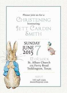 Wedding Invitations & Stationery by NellysPrint Christening Invitations, Wedding Invitations, Peter Rabbit Party, Welcome Card, Boy Baptism, Party Needs, Custom Design, Place Card Holders, Baby Shower