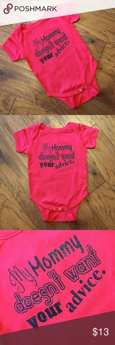 No Advice Infant Onesie/Bodysuit 100% cotton onesie/bodysuit that fits true to size. The glitter will not fade or flake wash after wash and wear after wear! Rabbit Skins One Pieces Bodysuits