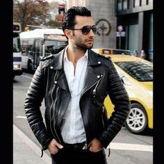 Mustafa in his Quilted Biker (Oil Black) #bodaskins #luxury #leather #london