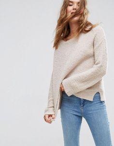 ASOS Sweater With Slash Neck In Boucle Yarn - Beige