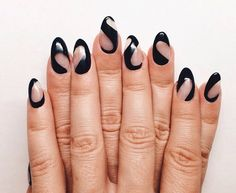 Negative space black nail design