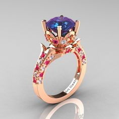 Classic French 14K Rose Gold 3.0 Carat Alexandrite Pink Sapphire Diamond Solitaire Wedding Ring R401-14KRGDPSSAL