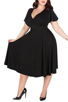 Nemidor Brautjungfer-Kleid mit V-Ausschnitt, Dehnbares Material, leger, große Größe  Gr. 56, schwarz  http://amzn.to/2qXfeLu