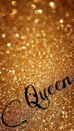 Gold glitter Queen wallpaper