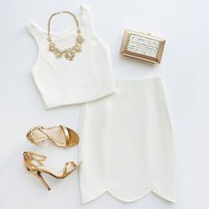The Throw a Curve Ivory Two-Piece Dress knows how to put your silhouette on display! A sleeveless, princess-seamed crop has a matching skirt with scalloped hem. Mode Outfits, Fashion Outfits, Womens Fashion, Fashion Trends, Looks Style, Style Me, Glam Style, Mode Collage, Elegantes Outfit