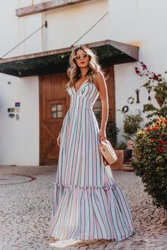 Casual Stripe V Neck Sleeveless Maxi Dress – Prilly midi dress midi skirt casual dress dresses outfits women dress classly summer midi dress outfits Cute Dresses, Beautiful Dresses, Casual Dresses, Maxi Dresses, Linen Dresses, Casual Wear, Outfit Chic, Dress Skirt, Dress Up