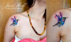 Watercolor Hummingbird Tattoo On Girl Right Front Shoulder By Javi Wolf Top Tattoos, Trendy Tattoos, Forearm Tattoos, Finger Tattoos, Sexy Tattoos, Unique Tattoos, Girl Tattoos, Tattoos For Guys, Sleeve Tattoos