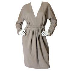 1970s Taupe Grey Plunge Halston Dress