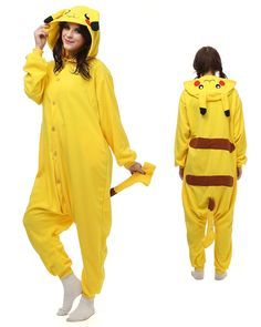 Pikachu Kigurumi Onesie Pajamas Polar Fleece Animal Unisex Costumes df9135825