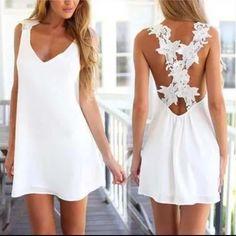 2016 Fashion Women Sexy V Neck Backless Lace Crochet Chiffon Summer Beach Mini Dress Vestidos White Dress Sweet 16 Dresses, Elegant Dresses, Sexy Dresses, Casual Dresses, Short Dresses, Summer Dresses, Mini Dresses, Sleeveless Dresses, Lace Dresses