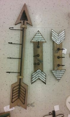 Cute wood arrow wall hanger with hooks/woodland theme nursery /hobby lobby