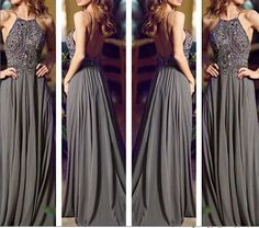 Tidetell.com Fashion A-line Halter Straps Chiffon Long Prom Dress With Beaded; halter prom dresses; long chiffon prom dresses; gray prom dresses