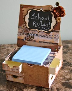 Easel card box with drawers. See video tutorial at www.kathy-itsagirlthing.blogspot.com