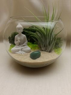 Air Plant and Buddha Terrarium DIY Kit/ Four Elements/ Air Element/ Amoghasiddhi/ Green Aventurine Crystal/ Opportunity/ Birthday Gift Idea Air Plant Terrarium, Garden Terrarium, Crystal Terrarium Diy, Terrarium Kits, Mini Zen Garden, Indoor Garden, Air Plants, Indoor Plants, Jardin Zen Miniature