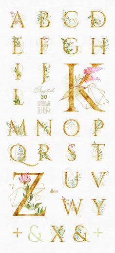 Watercolor floral & alphabet pre-made clipart leaf monogram Irezumi, Flower Alphabet, Diy Crystals, Diy Tattoo, Lettering Design, Watercolor Flowers, Watercolor Wedding, Flower Tattoos, Letterpress