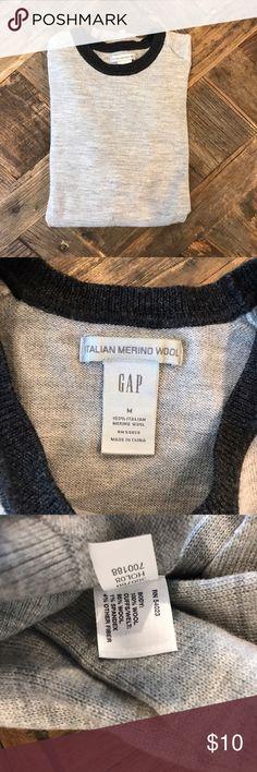 GAP Crewneck Sweater GAP crewneck merino wool sweater. Grey with dark charcoal trim. Size M. GAP Sweaters Crewneck