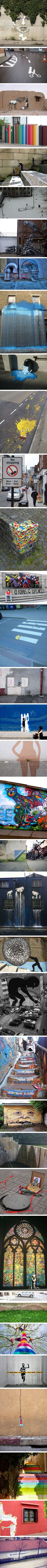 Look around.  What kind of street art do you see?