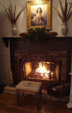 cozy traditional fireplace