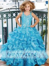 blue crystal straps flower girls kids children party pageant dresses ball gowns