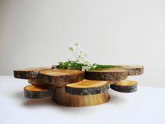 Rustic Woodland Wedding Centerpiece Wood  Cake par DaliasHomeDecor