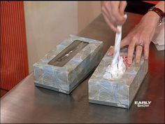 Use old kleenex boxes to store plastic grocery bags.