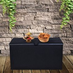 LEISURELIFE Plastic Deck Box Wicker 120 Gallon ** (paid link) Click on the image for additional details.
