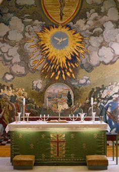 Altar in Bjerkvik church, built in 1955, Norway