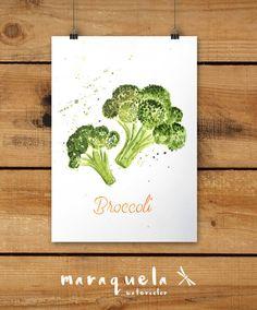 Brocoles hecho a mano.Técnica acuarela. Art Print Broccoli Watercolor by Maraquela Watercolor