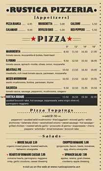 Pizza Menu that utilizes MenuPro's 4 prices per item option.