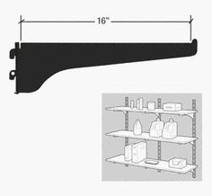 """CRL KV Black 180 Series 16"""" Heavy-Duty Steel Bracket by C.R. Laurence. $7.28. High Quality, High Strength Steel Components for Decorative or Utility Uses These American made shelf brackets and standards have been the choice of the glazing, hardware and decorating industries for more than 60 years. KV steel standards and brackets make building shelf units easy. Versatility and flexibility of design, and high quality precision fitted pieces make them perfect for m..."""