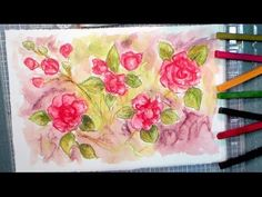 The Frugal Crafter Watercolor Tutorials on YouTube - Painting Double Impatiens with Inktense Blocks Watercolor Video, Watercolour Tutorials, Watercolor Techniques, Watercolor Paintings, Watercolor Pencils, Watercolours, Dyi Painting, Painting Lessons, Fabric Painting