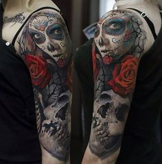 Day of the Dead Sleeve  #Armtattoos, #Girls, #Shouldertattoos, #Sleevetattoos