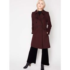 Miss Selfridge Burgundy Double Breasted Coat (€89) ❤ liked on Polyvore featuring outerwear, coats, burgundy, double breasted coat, button up coat, white coat, burgundy coat and white double breasted coat