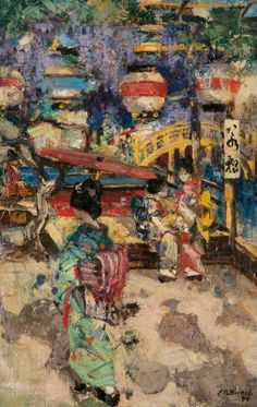 Figures with Lanterns and a Bridge, 1894 by Edward Atkinson Hornel (Scottish 1864-1933)