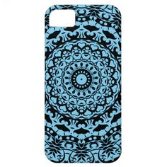 Teal Blue Black Floral Kaleidoscope Pattern iPhone 5 Covers