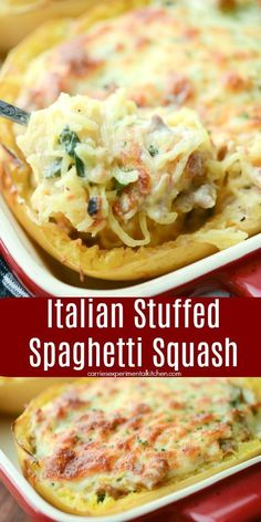 Italian Stuffed Spaghetti Squash made with sweet Italian sausage, fresh spinach, garlic, and fire roasted tomatoes topped with shredded Mozzarella cheese. recipes chicken recipes crockpot recipes easy recipes for dinner recipes healthy food recipes Veggie Dishes, Vegetable Recipes, Food Dishes, Side Dishes, Sausage And Spaghetti Squash, Cheese Spaghetti, Spaghetti Squash Lasagna, Italian Sausage Spaghetti, Recipes With Spaghetti Squash