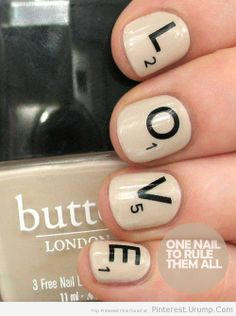 Scrabble Love Nails