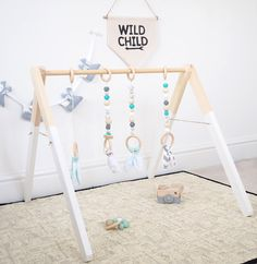 wooden baby gym scandi inspired Mint Aqua marine wooden play gym Baby Gym Toy Play Gym PlayGym by styledbynaomi Wood Baby Gym, Diy Baby Gym, Baby Needs, Baby Love, Deco Kids, Wooden Baby Toys, Play Gym, Baby Play, Toddler Toys