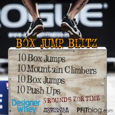 Grab a plyo box, bench or aerobics step and get ready to get your heart pumping! This is a great workout to put with an upper body strength program, like chest day, or you can even add it to a ligh...