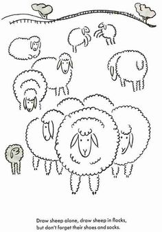 Sheep line art for hand embroidery. would be cute in french or colonial knots or drawn in swirls. love the face and ears!!